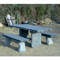 Mesa con bancos piedra natural granito mobiliario para - Mesas de piedra para jardin precios ...
