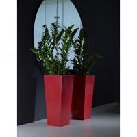 maceta cuadrada alta kiam gloss color rojo medida 35 x 75