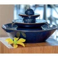 fuente de agua ceramica decorativa pisa color azul