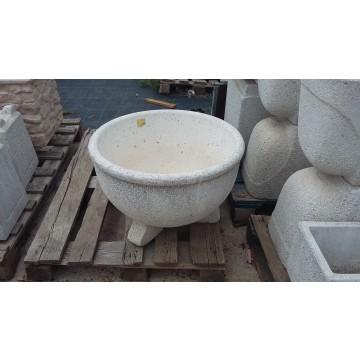 Cuenco redondo granito blanco 60x40 macetas y jardineras for Granito blanco real