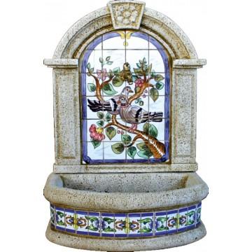 Fuente pared ceramica palomas 70x43x100cm fuentes - Fuente de pared ...