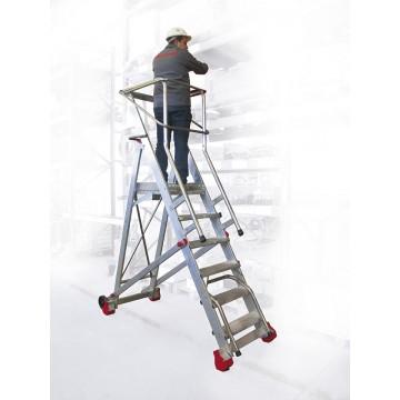 Escalera con plataforma y ruedas faraone smt mobiliario for Escaleras con plataforma precios