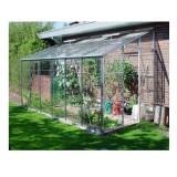 Invernadero Adosado 6x8 de Pared Aluminio . Adosado 6x8 Verde 191X254X239Cm Estructura, Cristal y Base