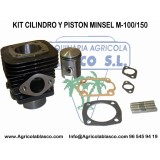Kit Cilindro y Piston +Juntas Motor Minsel  M150,  Motoazadas Agria,pasquali-Mollon-Truss-G...