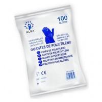 100 Guantes Desechables de Polietileno ALBA