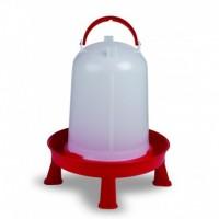 Bebedero para Pollos Eco 5 L con Patas Color Blanco y Rojo