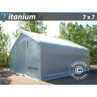 Carpa de Almacén Grande Titanium 7X7X2,5X4,2M, Blanco / Gris