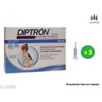 Caja 3 Pipetas Diptron 1,34 Ml Perros10-20 Kg Pipeta Anti Pulgas y Garrapatas