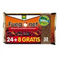 32 Pastillas de Encendido Ecológico Fuegonet Chimeneas y Barbacoas (24+8 Gratis)