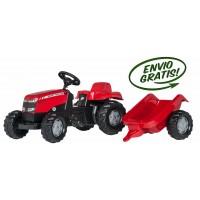 Tractor Infantil de Juguete a Pedales MF Massey Ferguson con Remolque