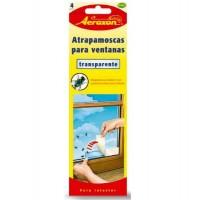 Tiras Adhesivas Atrapa Moscas para Ventanas Transparente Aeroxon 4Uds