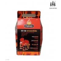 Kit Encendido Chimenea OK Fuego (Pastillas Ec,cerillas, Gel Encendido y Guantes)