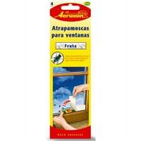 Tiras Adhesivas Atrapa Moscas para Ventanas Diseño Frutal Aeroxon 4Uds