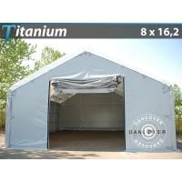 Carpa de Almacén Grande Titanium 8X16,2X3X5M, Blanco / Gris