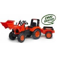 Tractor Infantil de Juguete a Pedales Kubota M-135-Gx con Pala y Remolque