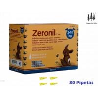 Caja 30 Pipetas Zeronil 67 Mg Perros 2-10 Kg Anti Pulgas y Garrapatas Pipeta