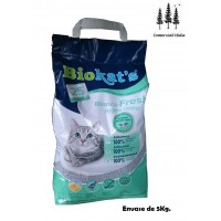 Arena Perfumada Lecho Gatos Biokat's 5Kg Bianco Fresh Hygiene Control Absorbente