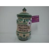 Azafrán en Envase de Cerámica Artística. Blanco-Verde. 3 Gr.