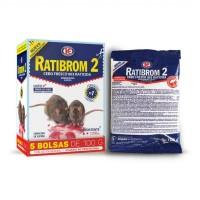 Cebo Fresco Raticida Ratibrom 2 Veneno contra Ratas y Ratones de Uso Doméstico 5 Bolsas de 100 Gramos