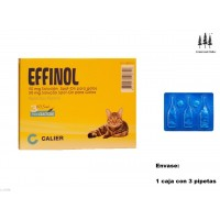 Caja 3 Pipetas Gato Effinol 0,50 Ml Anti Pulgas y Garrapatas Fipronilo Pipette
