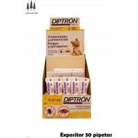 Expositor 30 Pipetas Diptron 0,67Ml Perros 2-10 Kg Anti Pulgas y Garrapatas