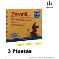 3 Pipetas Zeronil 67 Mg Perros 2-10 Kg Anti Pulgas y Garrapatas Spot On Pipeta