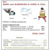 Equipo 1:   para Elaboración de Aceite de Oliva.