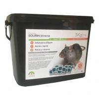 Raticida Sourin Xtreme Frap, Cebo en Pasta de Uso Profesional para Control de Roedores. Estuche 3 Kg (Bolsas 10 Gr)