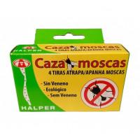 4 Tiras atrapamoscas sin veneno uso doméstico FLY-KOL Pegamento para moscas