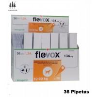 Caja 36 Pipetas Flevox 1,34 Ml Perros 10-20 Kg Pipeta Anti Pulgas y Garrapatas