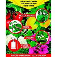 sobre de Acaricida Insecticida contra Mosca Blanca, la Oruga y el Pulgón.