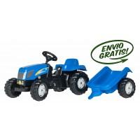 Tractor Infantil de Juguete a Pedales NEW Holland con Remolque
