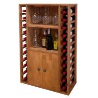 Botellero Pino Godello 22 Botellas + 2 Puertas y Soporte Copas
