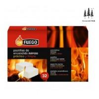 Caja 32 Pastillas para Encender Fuego Rápido y Limpio OK Fuego Leña y Carbón