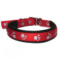 Collar Reflectante Huellas Rojo 55cm X 25mm