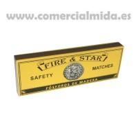 Pack 4 Cajas de Cerillas Extra Largas de Madera Fósforos de Seguridad Fire&star Extra Largos Súper XXL para Barbacoas, Estufas, Chimeneas, Etc. - 17 Cm - 200 Uds