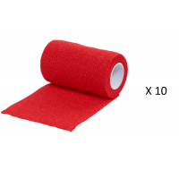 Pack Ahorro 10 Rollos de Vendaje Flexible para Animales Vet-Flex Color Rojo