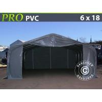 Carpa Grande de Almacén PRO 6X18X3,7M PVC, Gris