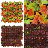 Placa Planta Hiedra Otoñal Artificial. Realista Decorativa. 50 X 50 Cm.