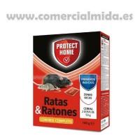 Protect Home Raticida en Cereal de Alta Eficacia y Poder de Atracción para Zonas Secas. Ratas y Ratones - 150Gr