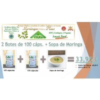 Oferta de 2 Botes de 100 Cápsulas de Moringa + 1 sobre de Sopa de Moringa (4 Raciones)