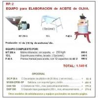 Equipo 2: para Elaboración de Aceite de Oliva.