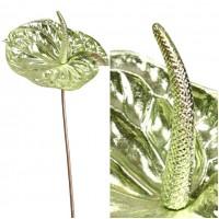 Flor Anturio Metalizado Artificial. Altura 65