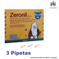 3 Pipetas Zeronil 268 Mg Perros 20-40 Kg Anti Pulgas y Garrapatas Spot On Pipeta