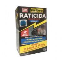 Muribrom Raticida Cebo Fresco Exprés Veneno para Ratones, Ratas y Roedores (Brodifacoum) 1 Kg (10 X 100 Gr