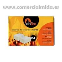 Pastillas Encendido Rápido para Chimenéas, Estufas O Barbacoas ON FIRE - Caja 24 Uds.