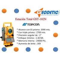 Estación Total Marca Topcon Modelo Gts-102N