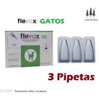 3 Pipetas Flevox 0,50 Ml Pulgas Garrapatas Fipronilo Gato Pipette Pipeta